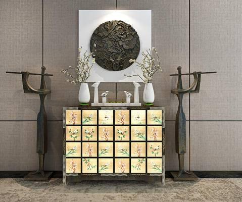 端景台, 摆件组合, 花瓶, 装饰画