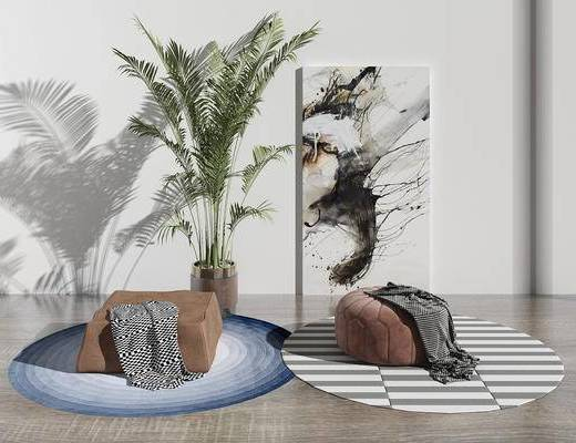 坐垫, 地毯, 植物, 装饰画