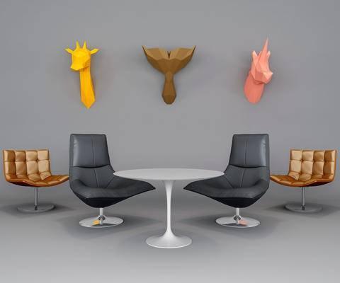 办公椅, 洽谈椅, 单椅, 墙饰