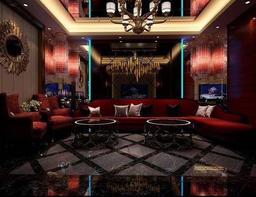 KTV包间, 会所, 多人沙发, 茶几, 单人沙发, 墙饰, 吊灯, 水晶吊灯, 简欧