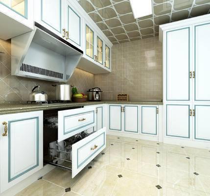 厨房, 欧式厨房, 橱柜, 厨具, 餐具