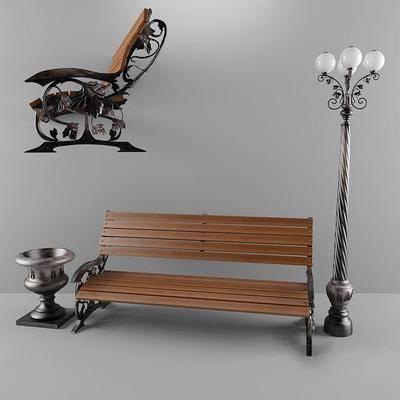 公园长凳, 路灯, 石花墩, 现代