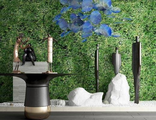 植物墙, 人物雕塑雕像, 石子摆件, 彩色亮片吊灯, 园艺小品