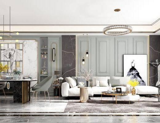 沙发茶几组合, 餐桌椅, 饰品, 摆件, 挂画, 背景墙