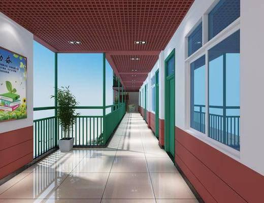 走廊过道, 盆栽, 植物, 墙饰, 装饰画, 挂画, 现代