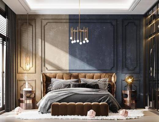 双人床, 床具组合, 吊灯, 衣柜, 床头柜, 服饰, 衣架