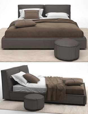 双人床, 地毯, 凳子, 枕头, 被子, 布艺, 现代