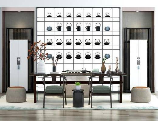 新中式茶室, 茶室, 桌椅組合