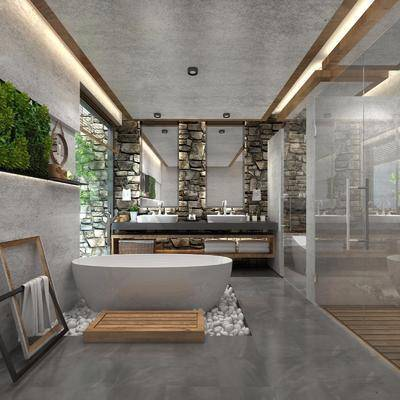 现代卫生间, 卫生间, 卫浴, 浴缸