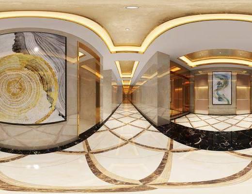 现代, 轻奢, 酒店, 过道, 工装