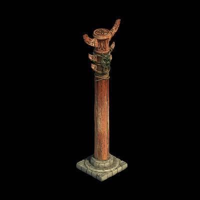 圆柱, 柱子, 木桩, 雕刻, 兽头