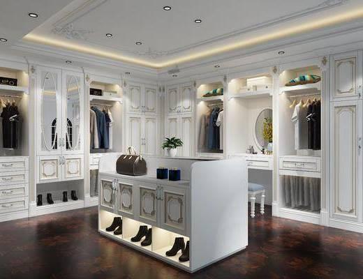 衣帽间, 衣柜, 服饰, 鞋柜, 法式