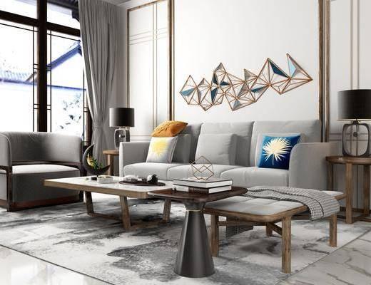 沙发组合, 多人沙发, 茶几, 边几, 台灯, 墙饰, 单人沙发, 摆件, 装饰品, 陈设品, 新中式