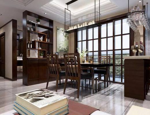 餐厅, 中式餐厅, 餐桌椅, 桌椅组合, 餐具, 置物柜