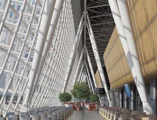 现代, 机场, 候机厅, 椅子
