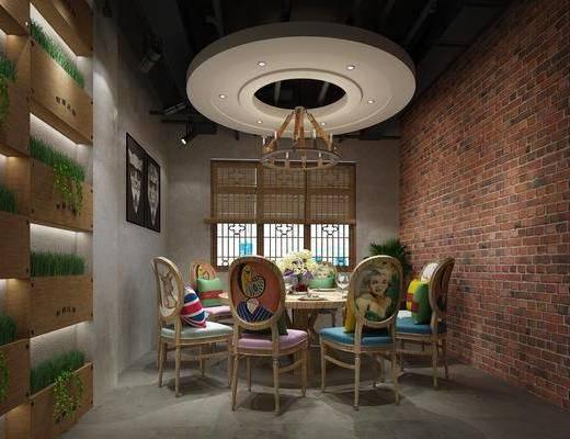 包厢, 餐桌, 餐椅, 单人椅, 餐具, 圆桌, 吊灯, 人物画, 装饰画, 挂画, 盆栽, 绿植, 植物, 动物画, 花瓶花卉, 工业风