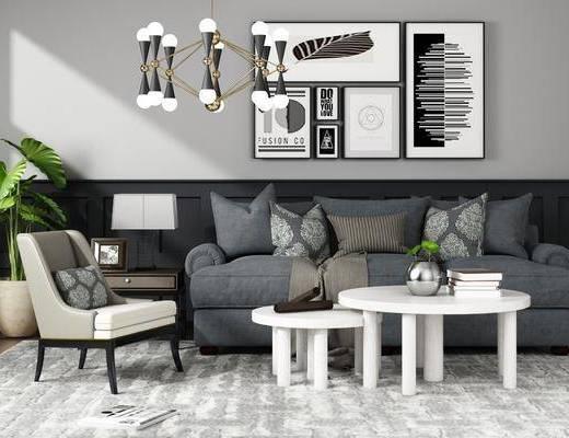 沙发茶几, 沙发, 茶几, 吊灯, 挂画, 装饰画, 盆栽, 台灯