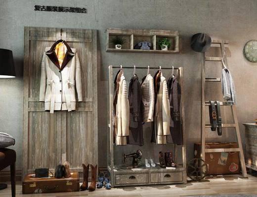 展示架组合, 服饰, 装饰架, 落地灯, 边柜, 装饰柜, 新中式