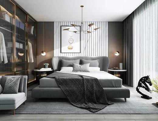 双人床, 衣柜, 装饰画, 吊灯, 单椅, 床头柜, 边几