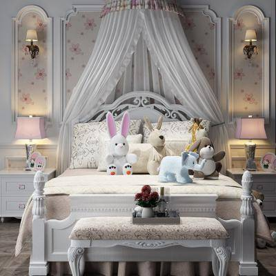 床具组合, 玩偶组合, 台灯组合, 摆件组合, 双人床, 简欧