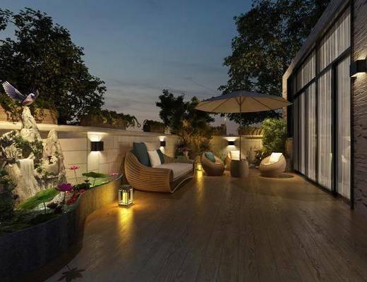 露台花园, 阳台露台, 多人沙发, 单人沙发, 壁灯, 荷花, 石头假山, 树木绿植, 现代