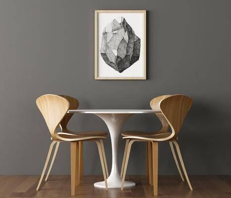 桌椅组合, 餐桌, 餐椅, 单人椅, 装饰画, 挂画, 北欧简约