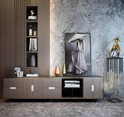 电视柜, 装饰画, 陈设品, 摆件, 端景台, 摆设
