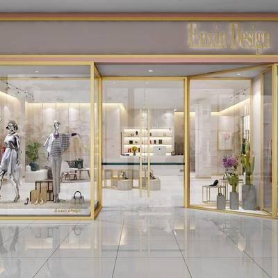 现代轻奢女装店, 单椅, 弧形沙发, 茶几, 服装, 模特, 衣橱, 吧台, 展示架, 吊灯, 现代