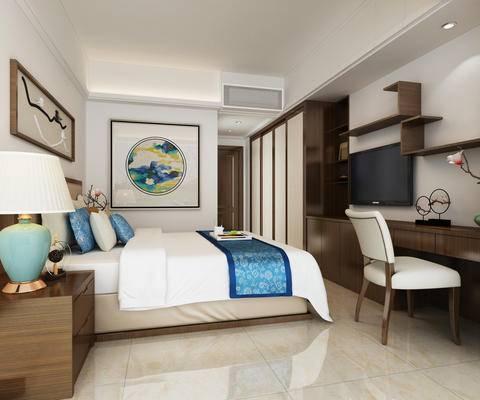 中式卧室, 挂画, 置物架, 书桌椅组合, 中式床具, 床头柜