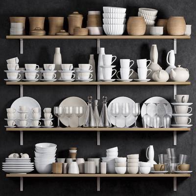 现代厨房餐具器具组合, 现代, 餐具, 碗筷, 玻璃杯