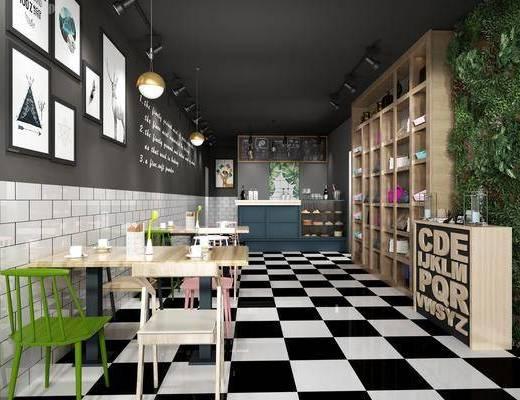咖啡厅, 餐厅, 餐桌, 餐椅, 单人椅, 组合画, 吊灯, 装饰画, 挂画, 植物墙, 装饰柜, 动物画, 工业风