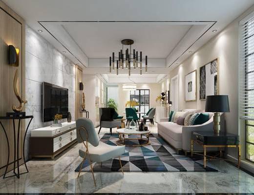 现代客厅, 客厅, 餐厅, 吊灯, 电视柜, 沙发, 茶几, 椅子
