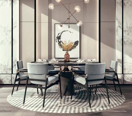 餐桌, 桌椅组合, 餐具组合, 装饰画, 吊灯