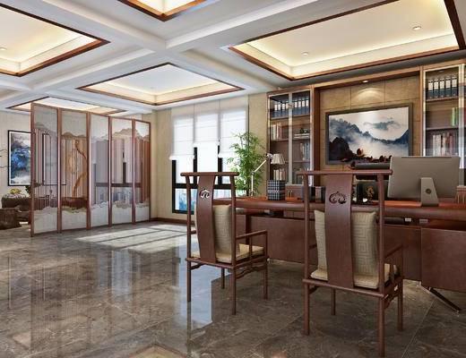 新中式办公室, 办公桌, 老板椅, 书柜, 单椅, 屏风, 茶台, 挂画, 花艺