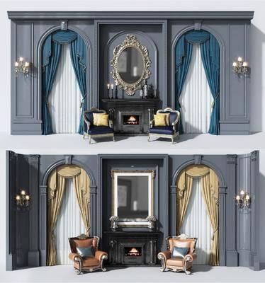 简欧壁炉, 壁炉, 单椅