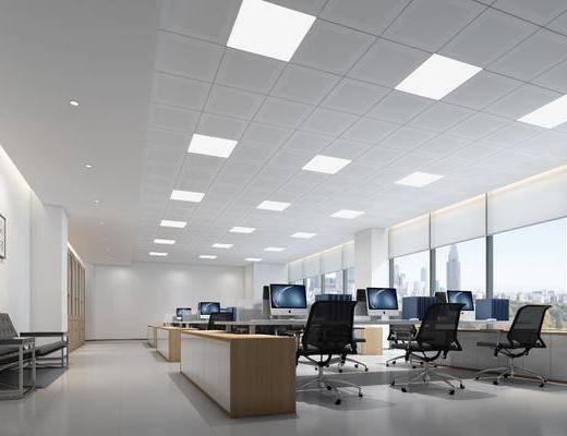 办公室, 办公桌, 双人沙发, 单人椅, 装饰画, 挂画, 办公椅, 电脑, 现代