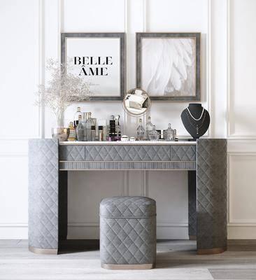 梳妆台, 摆件组合, 装饰画, 花瓶