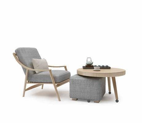 单人沙发, 茶几, 茶具, 现代