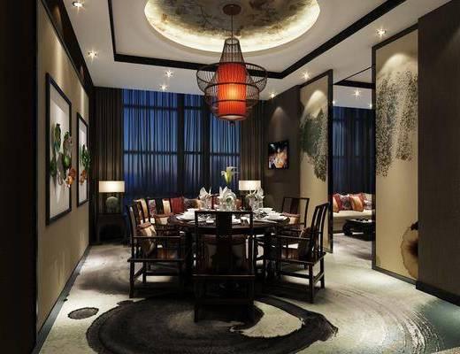 包厢, 新中式包厢, 新中式, 餐厅, 桌椅组合, 单椅, 餐具