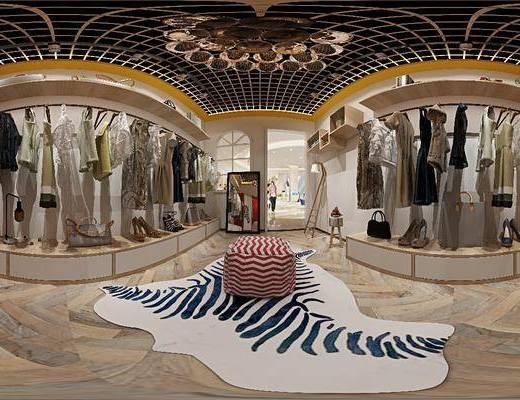 服装店, 工装全景, 衣架, 服饰, 吊灯, 前台, 现代