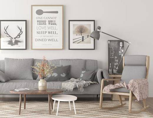 北欧客厅, 多人沙发, 边几, 装饰画