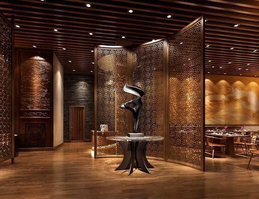 餐厅, 餐桌, 餐椅, 单人椅, 餐具, 圆桌, 卡座, 异形沙发, 多人沙发, 新中式