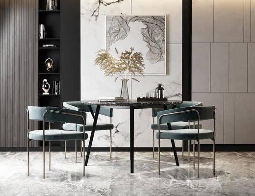 桌椅组合, 餐桌, 餐椅, 圆桌, 装饰画, 书籍, 装饰柜, 挂画, 现代轻奢