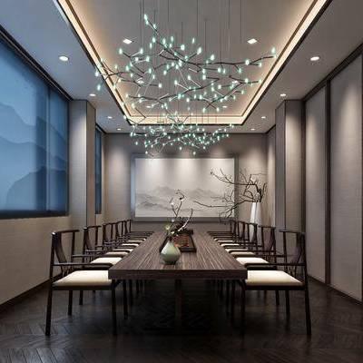 茶室, 长桌, 单人椅, 茶具, 摆件, 吊灯, 新中式