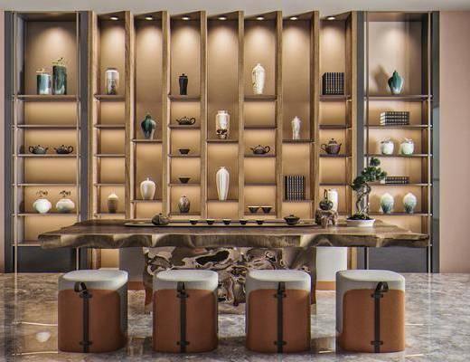 茶桌椅, 圆凳, 展示柜, 装饰柜, 摆件装饰品, 茶具