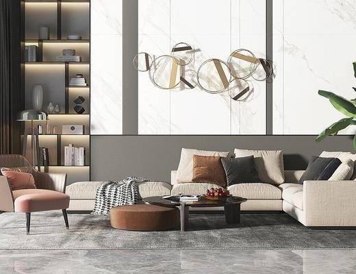 沙發組合, 多人沙發, 轉角沙發, 茶幾, 單人沙發, 墻飾, 書柜, 書籍, 盆栽, 綠植植物, 現代