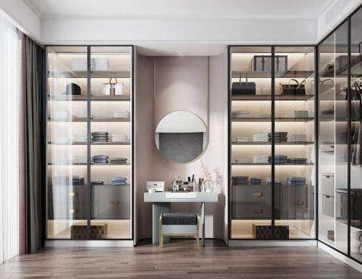 衣帽间, 衣柜, 服饰, 书桌, 凳子, 化妆台, 装饰镜, 现代
