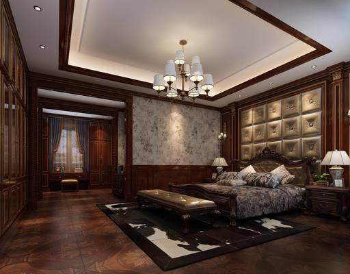 臥室, 床具組合, 桌椅組合, 美式