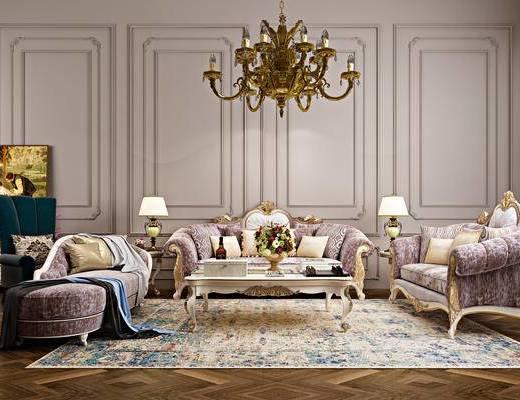 欧式, 沙发组合, 茶几, 灯具, 装饰品