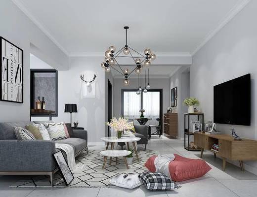 北欧, 客厅, 沙发, 抱枕, 茶几, 餐桌椅, 灯具, 鹿头